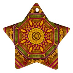 Sunshine Mandala And Other Golden Planets Ornament (star) by pepitasart