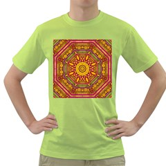 Sunshine Mandala And Other Golden Planets Green T Shirt by pepitasart