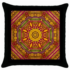 Sunshine Mandala And Other Golden Planets Throw Pillow Case (black) by pepitasart