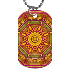 Sunshine Mandala And Other Golden Planets Dog Tag (one Side) by pepitasart