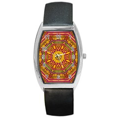 Sunshine Mandala And Other Golden Planets Barrel Style Metal Watch by pepitasart
