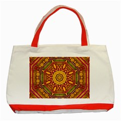 Sunshine Mandala And Other Golden Planets Classic Tote Bag (red) by pepitasart