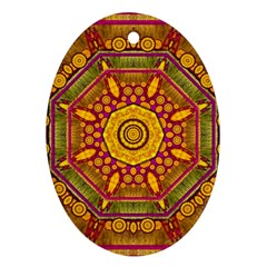 Sunshine Mandala And Other Golden Planets Oval Ornament (two Sides)
