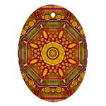 Sunshine Mandala And Other Golden Planets Oval Ornament (Two Sides) Back