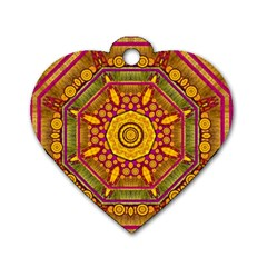 Sunshine Mandala And Other Golden Planets Dog Tag Heart (two Sides) by pepitasart