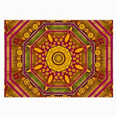 Sunshine Mandala And Other Golden Planets Large Glasses Cloth by pepitasart