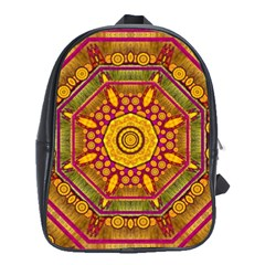 Sunshine Mandala And Other Golden Planets School Bag (large) by pepitasart