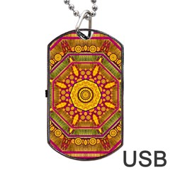 Sunshine Mandala And Other Golden Planets Dog Tag Usb Flash (two Sides) by pepitasart