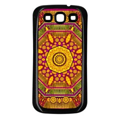 Sunshine Mandala And Other Golden Planets Samsung Galaxy S3 Back Case (black) by pepitasart