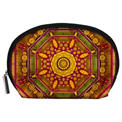 Sunshine Mandala And Other Golden Planets Accessory Pouches (large)  by pepitasart