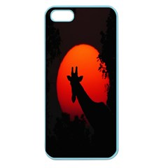 Giraffe Animal Africa Sunset Apple Seamless Iphone 5 Case (color)