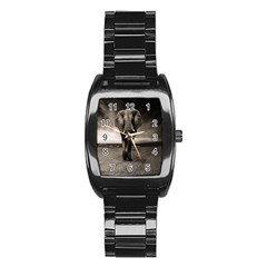 Elephant Black And White Animal Stainless Steel Barrel Watch by Celenk