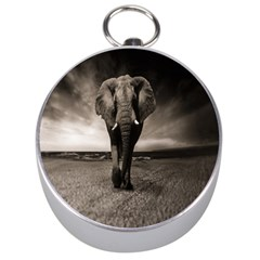 Elephant Black And White Animal Silver Compasses by Celenk