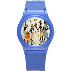 Man Ethic African People Collage Round Plastic Sport Watch (s) by Celenk