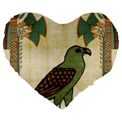 Egyptian Paper Papyrus Bird Large 19  Premium Heart Shape Cushions by Celenk