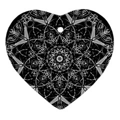 Mandala Psychedelic Neon Heart Ornament (two Sides) by Celenk