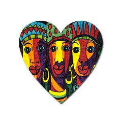 Ethnic Bold Bright Artistic Paper Heart Magnet by Celenk
