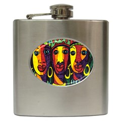Ethnic Bold Bright Artistic Paper Hip Flask (6 Oz) by Celenk