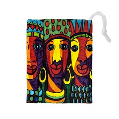 Ethnic Bold Bright Artistic Paper Drawstring Pouches (large)  by Celenk