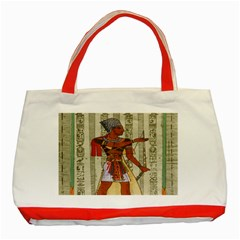 Egyptian Design Man Royal Classic Tote Bag (red) by Celenk