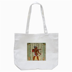 Egyptian Design Man Royal Tote Bag (white) by Celenk