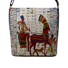 Egyptian Tutunkhamun Pharaoh Design Flap Messenger Bag (l)  by Celenk