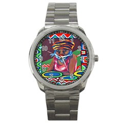 Ethnic Africa Art Work Drawing Sport Metal Watch by Celenk