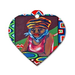 Ethnic Africa Art Work Drawing Dog Tag Heart (two Sides) by Celenk