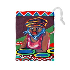 Ethnic Africa Art Work Drawing Drawstring Pouches (large)  by Celenk