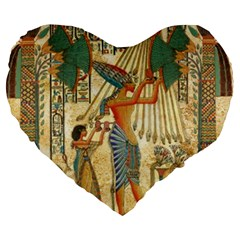 Egyptian Man Sun God Ra Amun Large 19  Premium Flano Heart Shape Cushions by Celenk