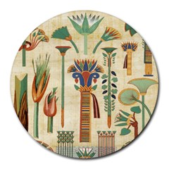 Egyptian Paper Papyrus Hieroglyphs Round Mousepads by Celenk