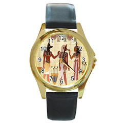 Egyptian Design Man Woman Priest Round Gold Metal Watch by Celenk