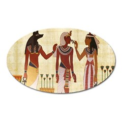 Egyptian Design Man Woman Priest Oval Magnet by Celenk