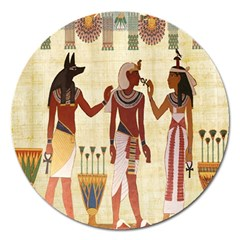 Egyptian Design Man Woman Priest Magnet 5  (round)