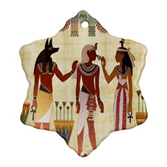 Egyptian Design Man Woman Priest Snowflake Ornament (two Sides) by Celenk