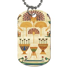 Egyptian Paper Papyrus Hieroglyphs Dog Tag (one Side) by Celenk