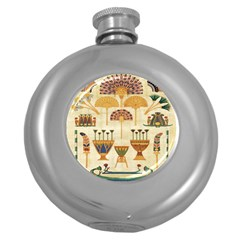 Egyptian Paper Papyrus Hieroglyphs Round Hip Flask (5 Oz) by Celenk