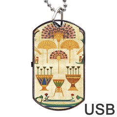 Egyptian Paper Papyrus Hieroglyphs Dog Tag Usb Flash (two Sides) by Celenk