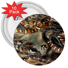 Texture Textile Beads Beading 3  Buttons (10 Pack)  by Celenk