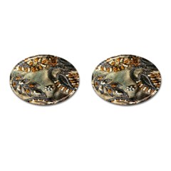 Texture Textile Beads Beading Cufflinks (oval) by Celenk