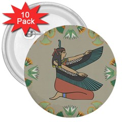 Egyptian Woman Wings Design 3  Buttons (10 Pack)