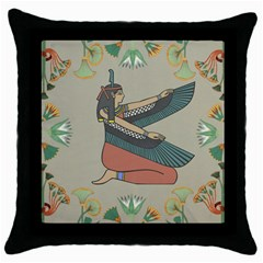 Egyptian Woman Wings Design Throw Pillow Case (black)
