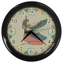 Egyptian Woman Wings Design Wall Clocks (black)