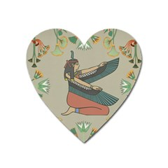 Egyptian Woman Wings Design Heart Magnet by Celenk