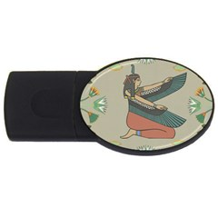 Egyptian Woman Wings Design Usb Flash Drive Oval (2 Gb) by Celenk