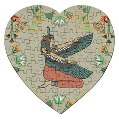 Egyptian Woman Wings Design Jigsaw Puzzle (heart) by Celenk