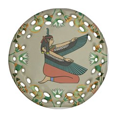 Egyptian Woman Wings Design Ornament (round Filigree)