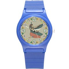 Egyptian Woman Wings Design Round Plastic Sport Watch (s) by Celenk