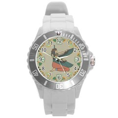 Egyptian Woman Wings Design Round Plastic Sport Watch (l) by Celenk