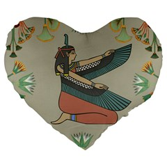 Egyptian Woman Wings Design Large 19  Premium Heart Shape Cushions by Celenk